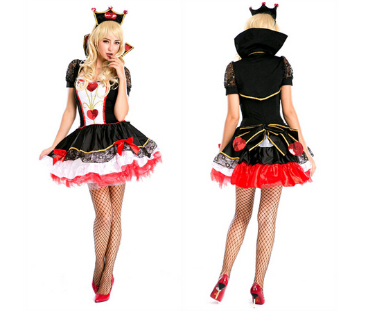 Queen Of Hearts Fancy Carnival Dress Poker party  hot sell  Halloween Costume Set Dress+ headwear For Ladies Cosplay Clothes