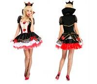 Queen Of Hearts Fantezi Karnaval Elbise Poker parti sıcak satmak Cadılar Bayramı Kostüm Set Elbise + şapkalar Bayanlar Cosplay Giysi Için