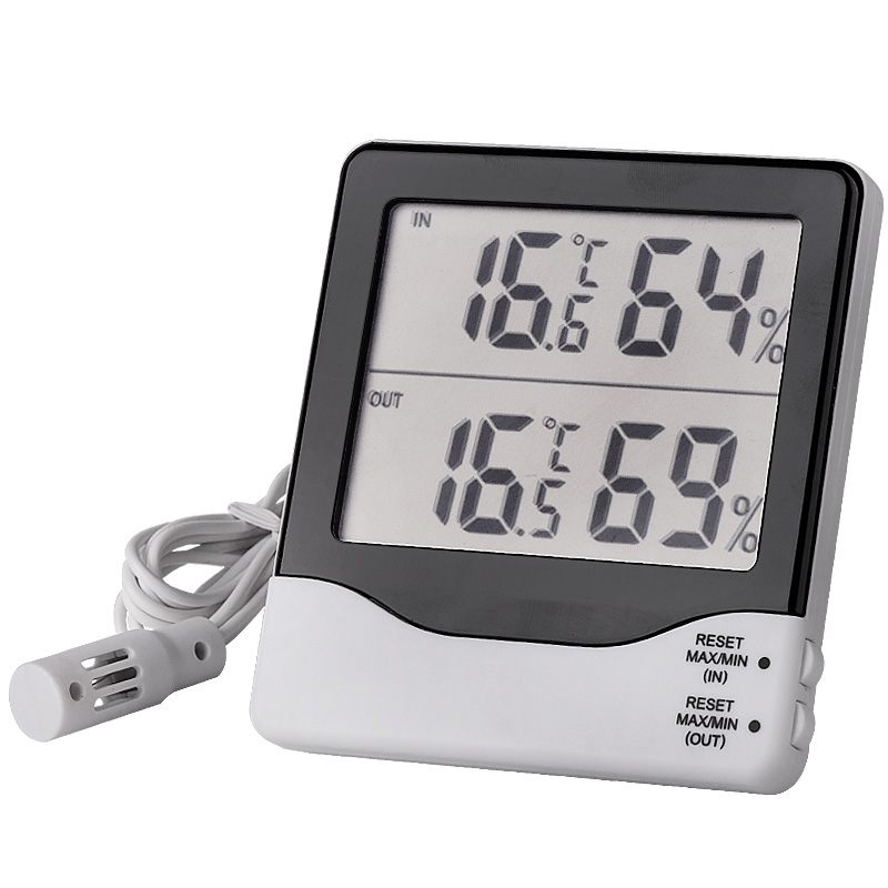 In & Out Two Channels Thermo-Hygrometer Digital LCD Electronic Temperature Humidity Meter Weather Station Thermometer Hygrometer коммутатор allied telesis at gs950 24 управляемый 24xgblan 2xsfp