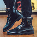 Men Boots Top Quality Fashion Handmade Leather Ankle Boots Fashion Martin Boots With Fur Men Winter Rivet Shoes Motorcycle Boots