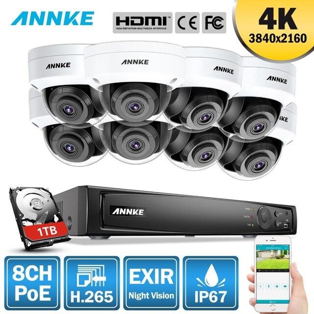 ANÃO 8CH 4 K Ultra HD Sistema De Segurança De Vídeo de Rede POE 8MP H.265 NVR Com 8 pcs 8MP 30 m EXIR Night Vision Intempéries Câmera IP