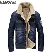 Denim Jeans Men Parkas Windbreaker Warm Thick Winter Autumn Jackets and Coats Casual Male Clothing Plus Size 4XL Standard Collar