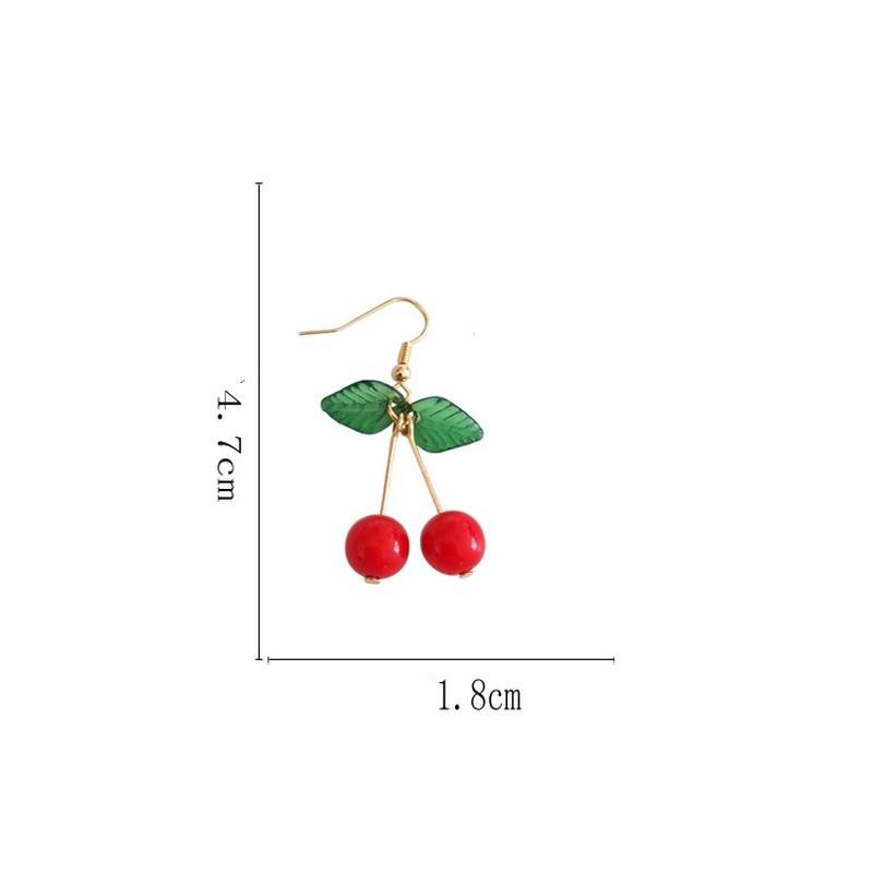 hot red Cherry earrings eardrop Sweet fruit fresh cherry eardrop female fashion youth beautiful girl students earrings for women 2