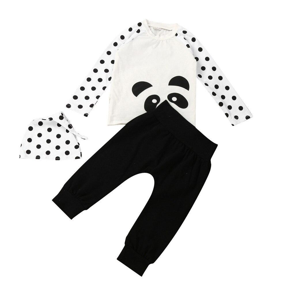 Newborn Baby Boys Girls Long Sleeve T Shirt Tops+Pants+Hat Outfits Clothes Set 2017 Summer Cute Set
