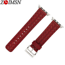 ZLIMSN Woven Pattern Personality Genuine Leather Strap  Applicable For Apple 42mm 38mm Watch Series 4 3 2 1 iWatch