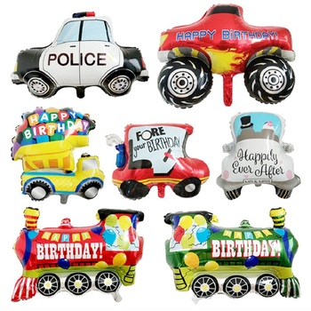 Cartoon Car Balloons Truck Car Train Foil Balloon Globos Children Gifts Birthday Party Decorations Kids balls image