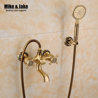 Free shipping Bathroom Bath shower mixer Wall Mounted Carving Hand Held Antique Brass Shower Head Kit Shower Faucet Sets