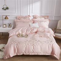 100% Egypt Cotton pink Embroidery Luxury Bedding Sets King Queen Size 4/7pcs wedding Bed Duvet Cover Bed Sheet set