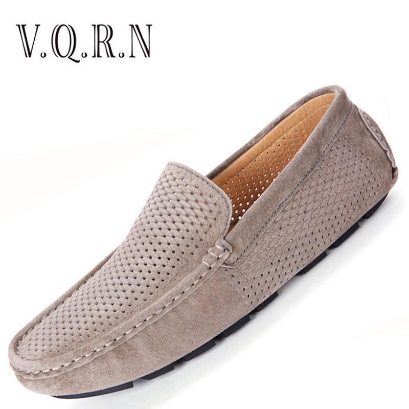 VQRN Men Loafers 2017 Casual Boat Shoes Mens Breathable Leather Suede Driving Shoes Moccasins Hollow Out Men Flats amaginmni brand genuine cow leather mens loafers 2017 fashion handmade mens casual shoes breathable comfortable boat shoes men