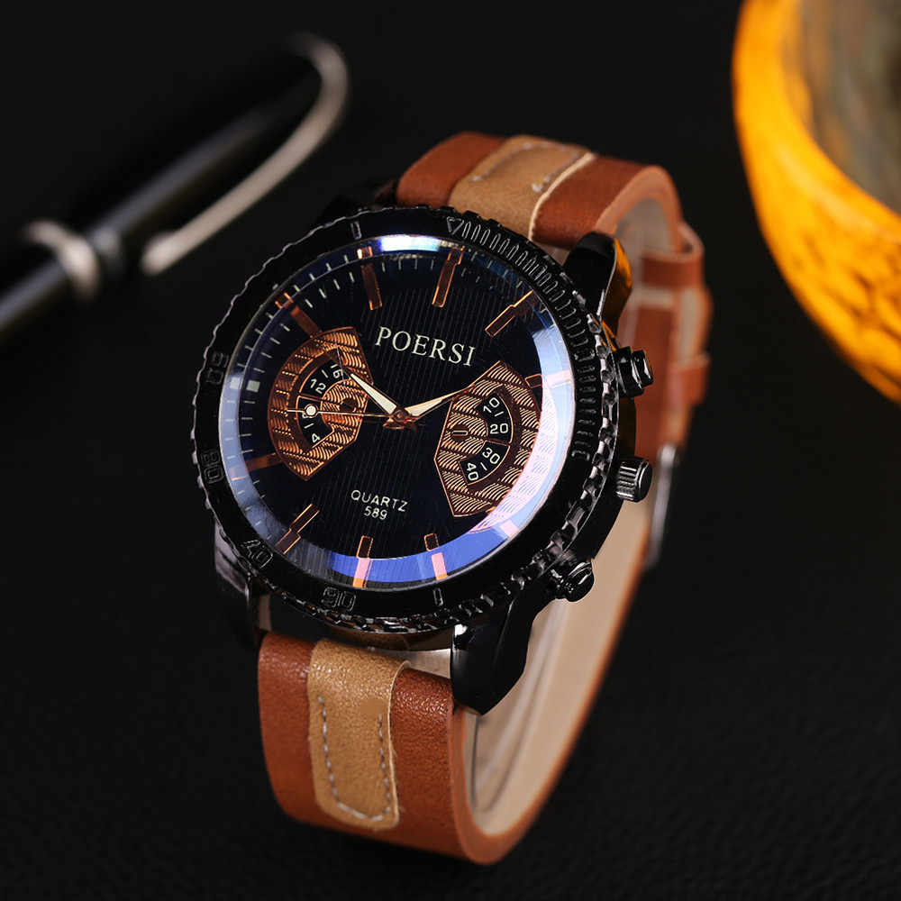 Dropship&Wholesale Luxury Watch Men High Quality Faux Leather Sports Watches For Men Quartz Wristwatch Relogio Masculino