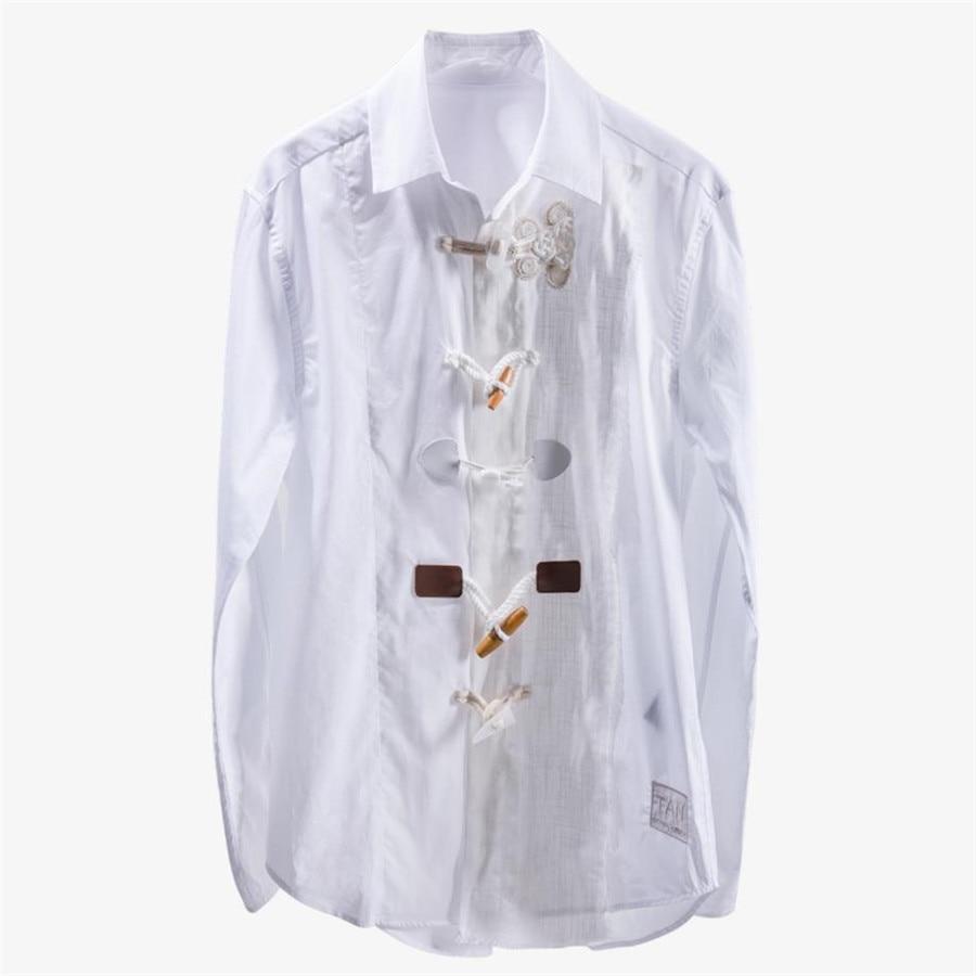 2019 printemps nouveau bouton broderie chemise blanche lâche sauvage femme à manches longues coton lin blouse H59