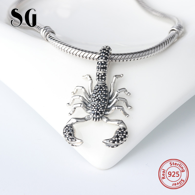 Black Scorpion Fit Pandora Pendant Thomas Style Rebel diy Jewelry For Men & Women Berloq ...
