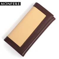 MONFERE Women Genuine Leather Long Wallet Credit Id Card Holder Cowhide Clutch Brand Hasp Wallet Split