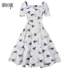 Plus Size S-4XL Women Vintage Dress Rockabilly Feminino Robe Vestidos Hepburn 50s 60s Square Neck Dress Swan Party Dresses