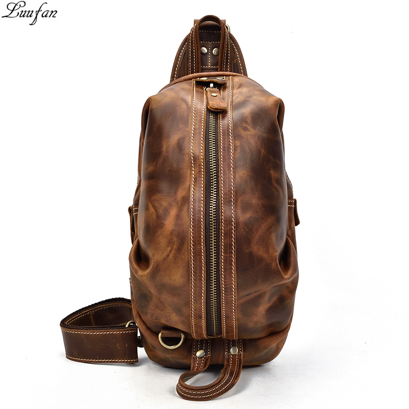 Vintage Genuine Leather Crazy Horse Leather Men Chest Pack Mini Cowhide Messenger Gags Fashion Sling Bag