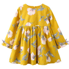 Spring Autumn Printing Baby Girls Dress Bow Kids Dresses for Casual Long Sleeve Princess Clothes