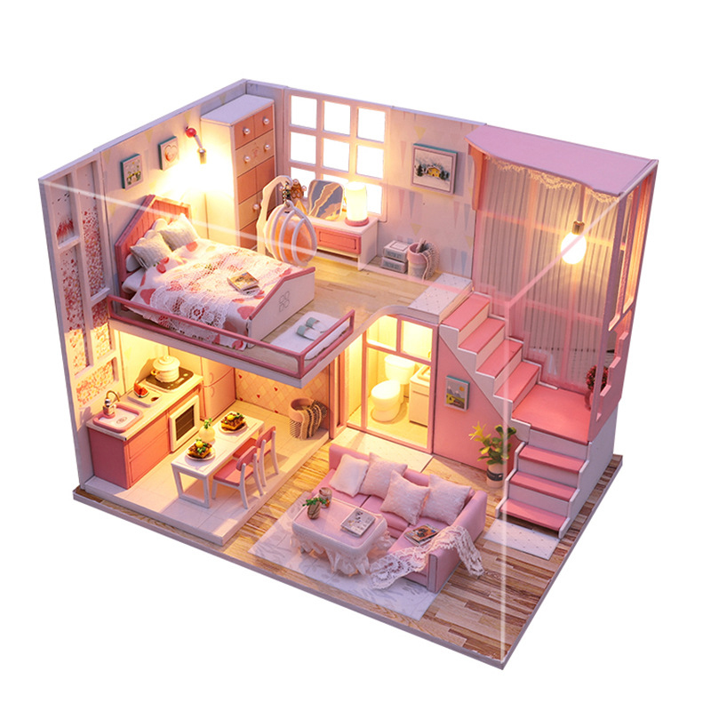 DIY Miniature Dollhouse Pink Loft Doll House Model Assemble Kits with Furnitures Wooden House Toy for Children Birthday Gifts