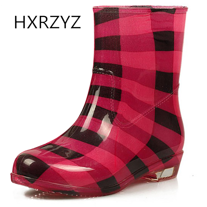 HXRZYZ Women font b rain b font font b boots b font leopard rubber ankle font
