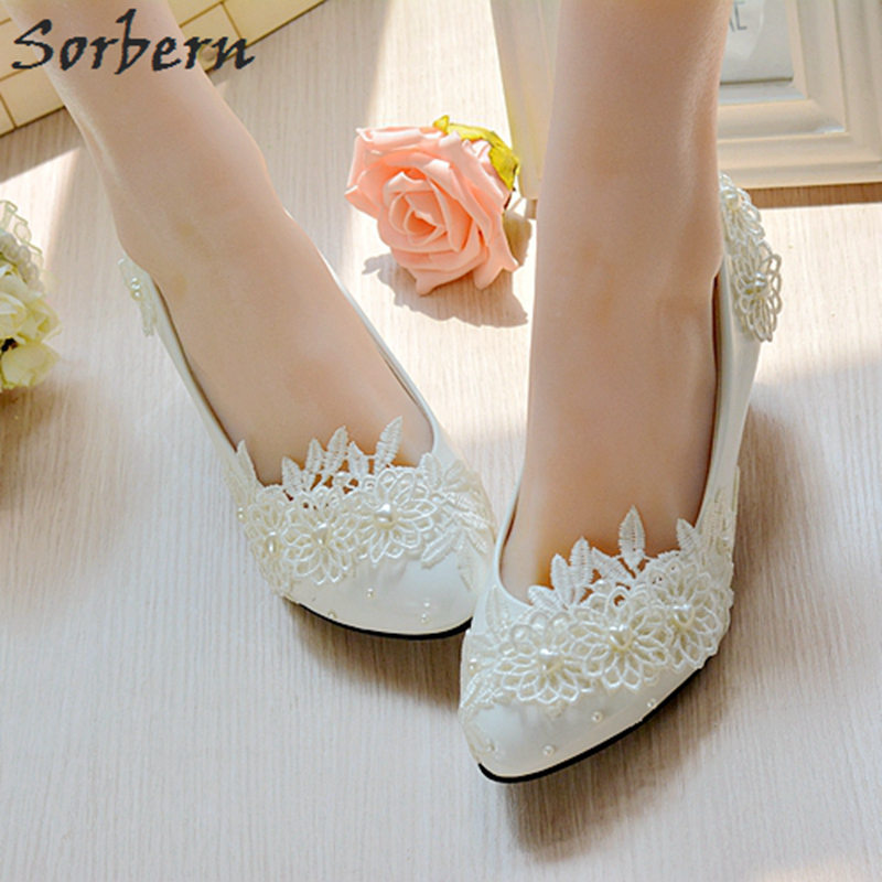 57c660374a7 Sorbern White Flower Appliques Beaded Wedding Shoes Slip On Romantic Bridal  Pump High Heels Pointy Toe