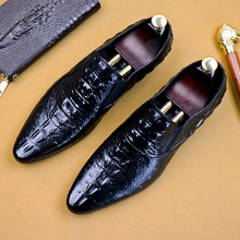 Luxury Designer Genuine Leather Formal Dress Men's Shoes Pointed Toe Slip on Alligator Pattern Casual Loafers For Male AS155