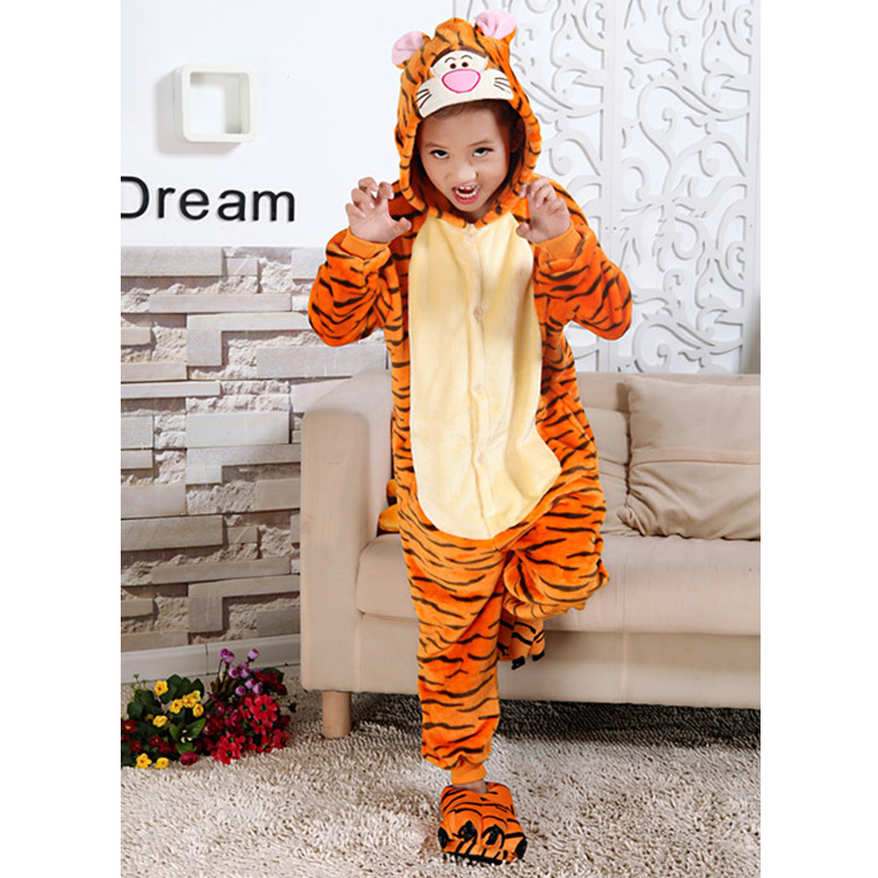Children Cartoon Animal Hooded Pijamas Spring Autumn Minion Totoro Stitch Cosplay Onesie Sleepwear Nightwear for Boy Girl Kids