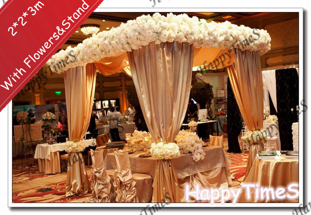 2*2*3m Luxury Wedding Outdoor Decorations Canopy Curtain In Ch&agne Colors With Flowers & 2*2*3m Luxury Wedding Outdoor Decorations Canopy Curtain In ...