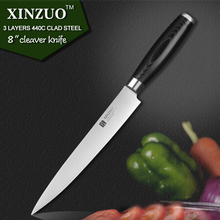 XINZUO 8 inch cleaver knife three layers 440C clad steel kitchen knife micarta handle sashimi knife kitchen tackle free shipping