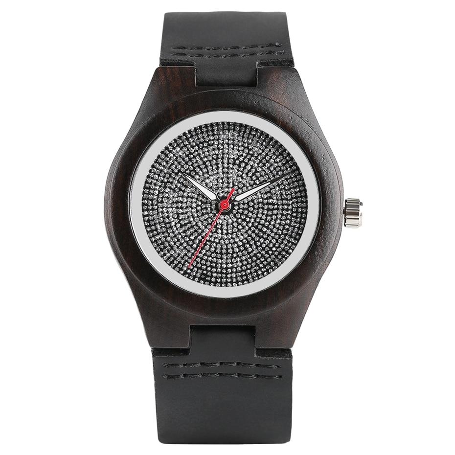 Top Luxury Mens Watch Retro Ebony Wood Watch Unique Diamond Dial Sports Quartz Women Writstwatch Genuine Leather Valentine Gifts 2020 (14)