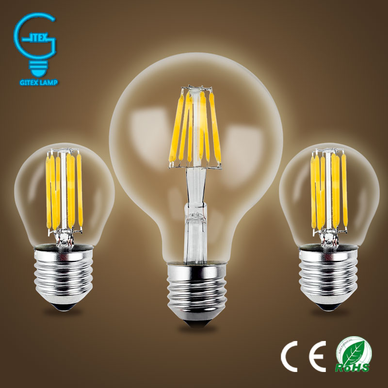 Gitex Antique LED E27 Bulb Retro Lamp 220V 2W 4W 6W 8W LED Filament Light E14 Glass Ball Bombillas LED Bulb Edison Candle Light led light bulb filament vintage edison e14 2 w 4 w c35 ac220v glass transparent shell cob led candle lamp 360 degree light bulb