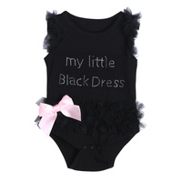 Baby Infant Girls Sleeveless Letter Print Black Romper Dress Bubble Skirt Cute Lace Dress Pullover Girls Clothes