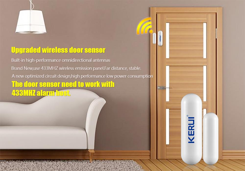 1368pcslot New KERUI open reminder Sensor 433mhz While Wireless Home Alarm Window Door Sensor to Detect Open Door_1