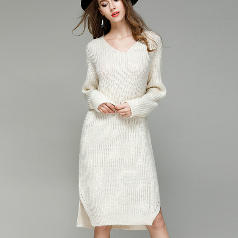 2017 Autumn Winter casual loose long sleeve V neck long sweater dresses women long knited pullovers dress women long sweater top