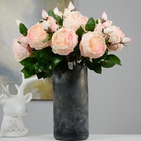 3pcs Artificial Flower Roses White Pink 57cm Long Branches 1 Rose Heads 2 Buds Wedding Bridal Home Shop Decorative Fake Flowers
