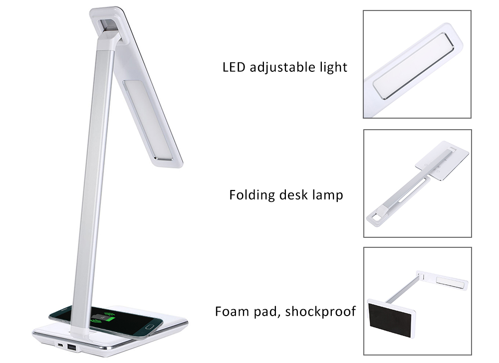 2in 1 Wireless Charger Folding LED Desk Lamp Eye Protection LED Table Night Light Lamp with Qi Wireless Modern Desktop USB Outpu white rotating rechargeable led talbe lamp usb micro charging eye protection night light dimmerable bedsides luminaria de mesa
