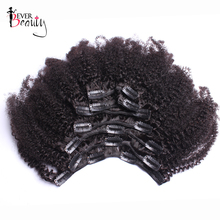 Afro Kinky Curly Clip In Human Hair Extensions For Women Mongolian Hair Extensions Clip Ins Natiral Black Remy Ever Beauty