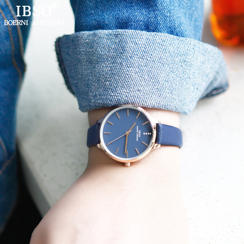 IBSO Women Leather Watches Top Brand Luxury Crystal Female Quartz Watch Reloj Mujer 2018 New Fashion Women Wrist Watch #6603