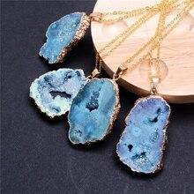 Nueva moda geométrica piedras naturales irregulares Druzy Colgante de Piedra collares Vintage cristal trozo de geoda collar regalo