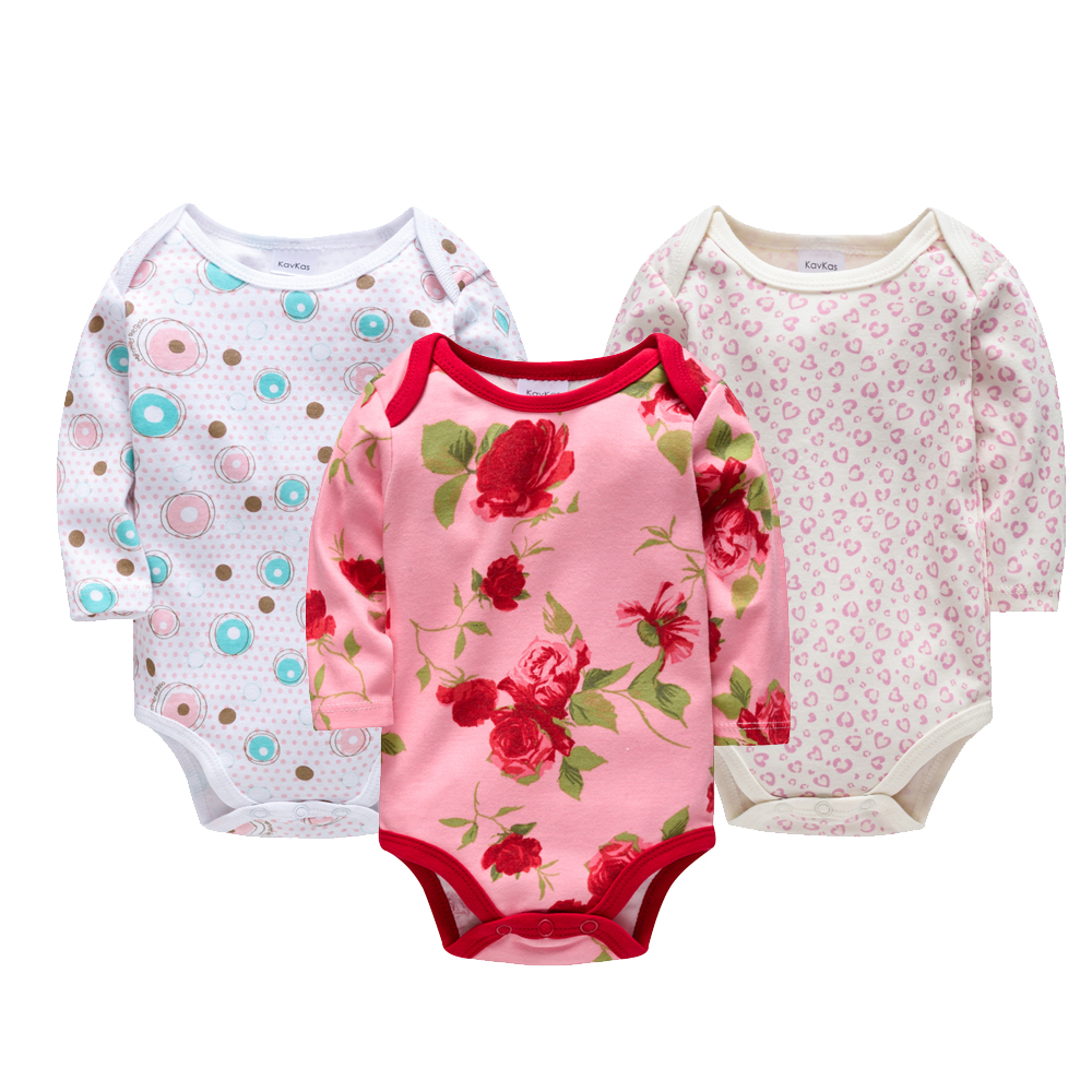 KAVKAS 3pcs Baby Girl Clothes Long Sleeve Cotton   Rompers   Winter Wear Overalls Cute Baby Girl   Romper   Newborn Clothing Jumpsuits