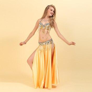 1e9d45d6c Sujetador de traje de danza del vientre hecho a mano + cinturón 2 unids/set  Ropa de baile de las mujeres Sexy Sari ropa India danza Oriental DN2026