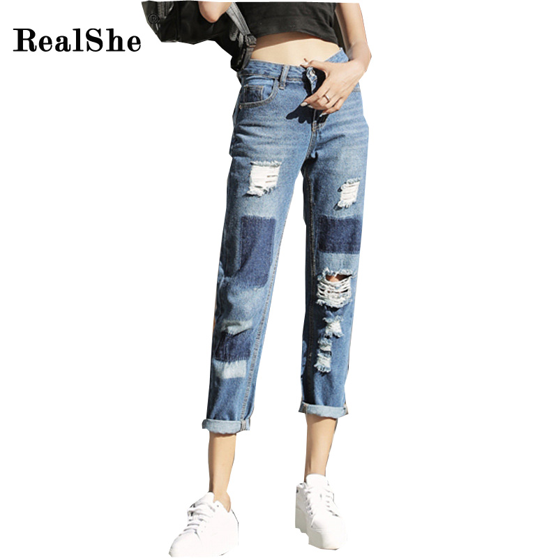 RealShe Blue Women Harem Pants 2017 Summer Autumn Casual High Waist Denim Jeans New Style Women's Hole Ankle-Length Pant new summer vintage women ripped hole jeans high waist floral embroidery loose fashion ankle length women denim jeans harem pants
