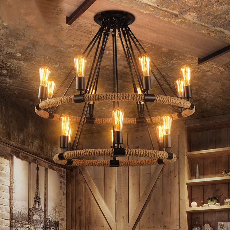 American country industrial retro Hemp rope chandelier cafe restaurant bar lamp E27 110 240V|Pendant Lights| |  - title=
