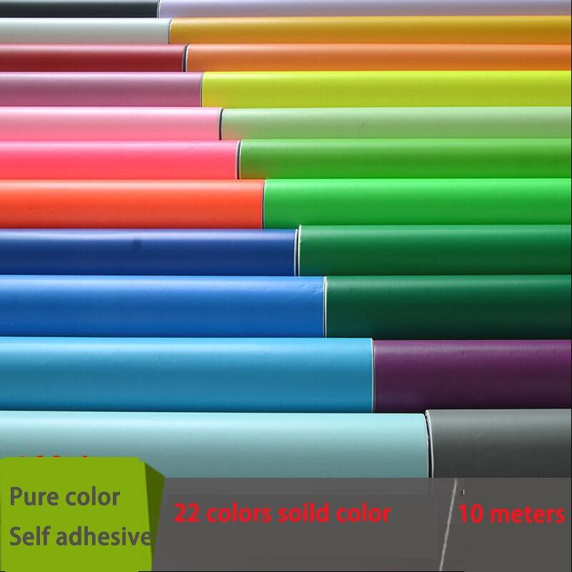soild colors self adhesive wallpaper 0.45X10 meters roll  papel de parede 22 color selection 1pcs 18mm x 5mm single sided self adhesive shockproof sponge foam tape 3 meters