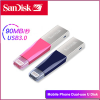 SanDisk USB Flash Drive pendrive iXPand OTG pen drive Pink Blue SDIX40N usb c 32GB cle usb stick USB 3.0 MFi for iPhone iPad key