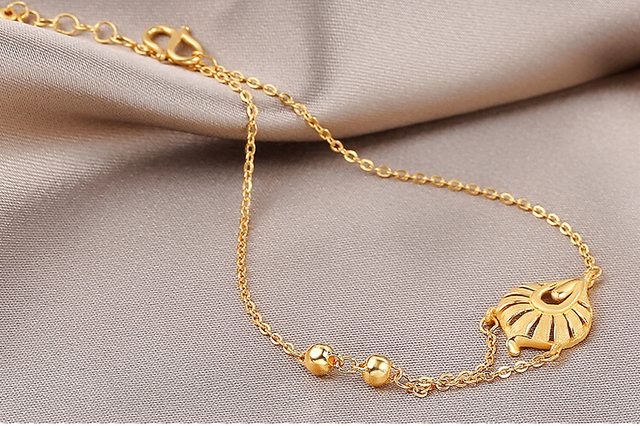 Pure Solid 24K Yellow Gold Chain Womens Lucky Leaf Chain Bracelet