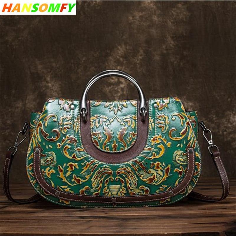 Bagaj ve Çantalar'ten Omuz Çantaları'de Bayanlar büyük çanta moda Vintage craft ovmak renk kadın çanta inek deri yeni kabartmalı çapraz kadın omuz crossbody çanta'da  Grup 1