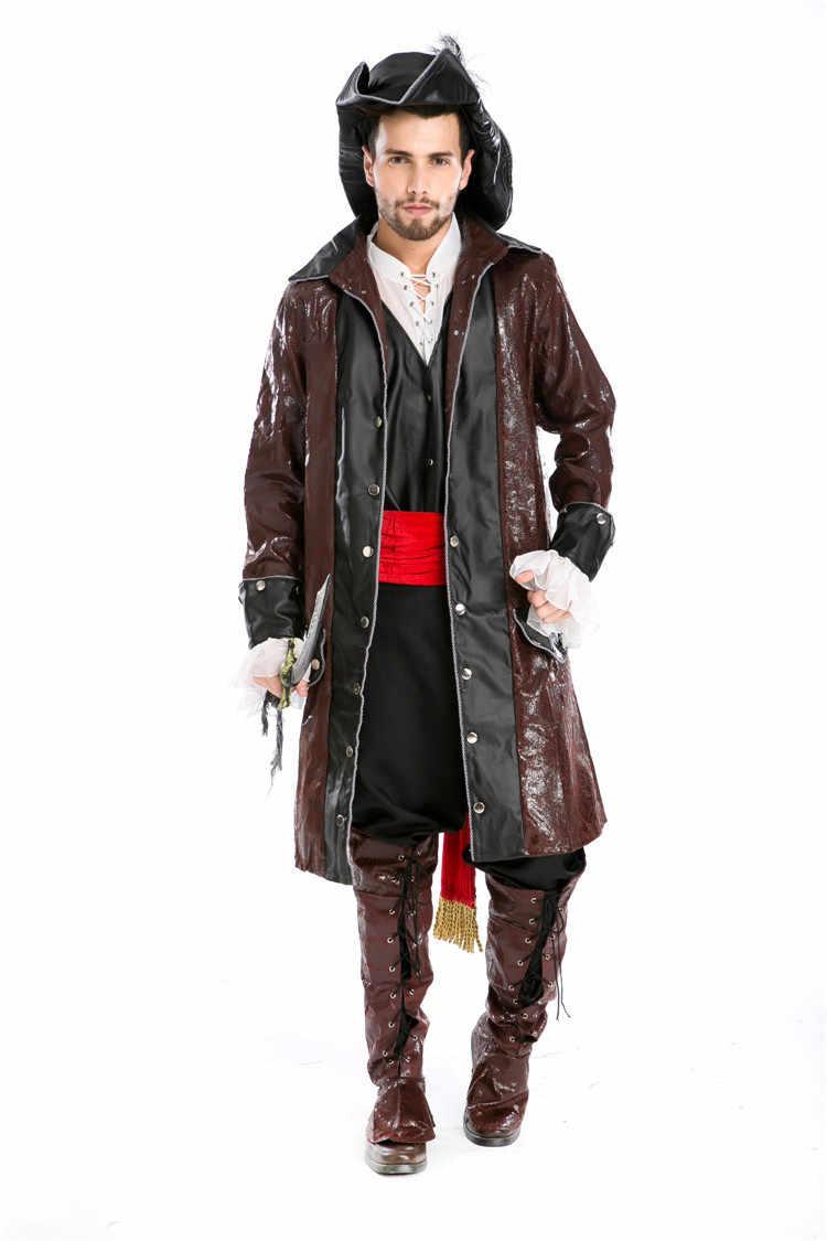 Piratas do caribe jack sparrow cosplay traje conjunto adulto masculino pirata traje halloween cosplay roupa 7 pçs