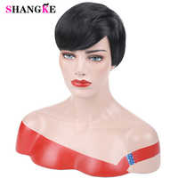 SHANGKE Court Noir Perruques pour Femmes Résistant À La Chaleur Synthétique Pixie Cut Perruque Costume Cosplay Perruque de Cheveux