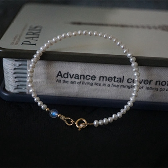 Natural AA White Nearround Pearl,Labradorite 6mm 925 Sterling silver Bracelet  7''-8''