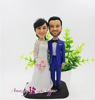 2019 AMAZING CAKE TOPPER Toys Beautiful bride with a wreath And Groom Gifts Ideas Customized Figurine Valentine's Day