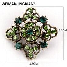 Crystal Rhinestones Flower Antique Brooch